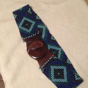 Peacock Colored Beaded Stretch Belt